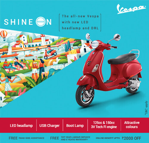 Shine On - The all-new Vespa with new LED headlamp and DRL